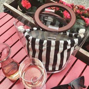 Handbags - Transparent Handbag with Striped Pouch